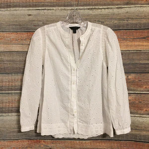 J.crew crochet eyelet white button down blouse